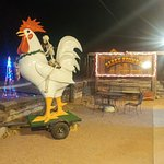 Giant chicken outside.