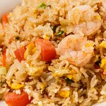 Thai Fried Rice - Fried Rice with garlic, onions, tomotoes, spring onions, carrots and eggs