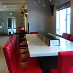 Breakfast area has these fabulous red leather bar stools & table. Credit. www.AreYouThatWoman.co