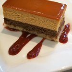 dessert of the day - caramel chocolate mousse cake