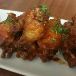 Delicious sweet and spicy wings.