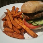 Lamb Burger and Yam Fries