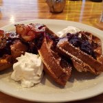 Waffles with bacon and berries
