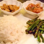 Sambal Green bean, Nyonya Curry Chicken and Caramelized Ginger Sole Fish