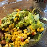 Salad Bowl - lettuce, onions, peppers, black beans, pinto beans, sweet corn salsa and guacamole.