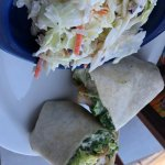 Hurricane Pattys St. Augustine FLA Caesar Wrap with breaded shrimp +coleslaw