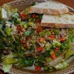 Great salad with homemade Italian bread.