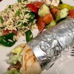 Chicken gyro, orzo salad, and Greek salad