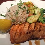 Misoyaki Salmon with brown rice and mixed vegetables
