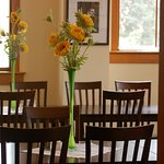 Our dining room is bright and airy. Enjoy a healthy dinner. Breakfast is included with your stay