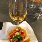 The Vidal icewine with a Spiced Piggy Pulled Pork sandwich.