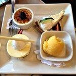 Dessert Sampler: Crème brulée, white chocolate cheesecake, key lime pie, seasonal sorbet