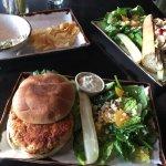 Salmon burger, turkey sandwich and smoked salmon dip