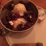 Chocolate pistachio praline sundae with Turkish delight rocky road
