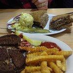 1/2 lb chopped liver sandwich, and Russian Reuben