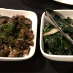 Sides of mushrooms and Kale with pine nuts and cranberries