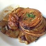 Crispy rolled pork belly roasted w potatoes, mushroom, onion & speck