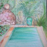 my crayon sketch of the pool area - the pool is actually much, much bigger, maybe 20 metres long