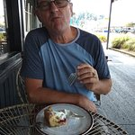 Jim enjoying a tasty cake and excellent coffee at Soul Cafe