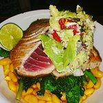 Rare Seared Tuna, Saffron White Beans, Avocado Crab Salad