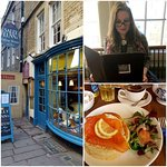 Outside of Sally Lunn's, menu and bath bun with salmon