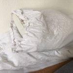 Almohadas sucias y arrugadas