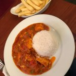 Garlic chilli chicken masala with half rice and half chips absolutely amazing!!