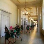 School class streaming through the halls.