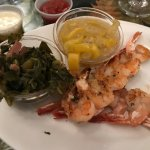 Grilled shrimp with Collard Greens(good) summer squash