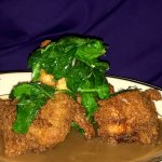 Fried Chicken with Sautéed Spinach