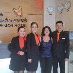 The wonderful staff at Sanouva - Tran, Nghia, and Hanh