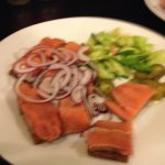 marinated salmon on rye bread - was tasty
