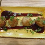 Arancini: duck & fennel risotto balls with spiced plum & spring onion sauce