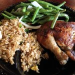1/4 Chicken (dark meat), Arroz Chaufa (fried rice w/green onions), green beans w/onions & olive