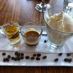 Affogato served with a shot of Drambuie