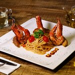 Great Cajun Shrimp Pasta, love the food and the cozy space.