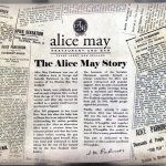 Alice May placemat detailing the Alice May story
