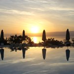View of the sun set on the Red Sea from 'this' side of the pool at Berenice Beach Club