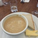 Parsnip soup. Very thick and tasty but would have preferred roll or toast. the Butter was too ha