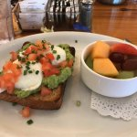 I had the avocado toast with a side of fresh fruit, It was delicious!