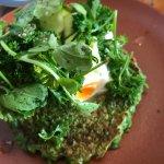 green pancake wth eggs