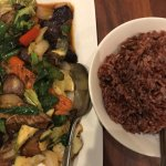 Eggplant stirfry and red rice