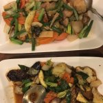 Vegetable stirfry with cashews and eggplant stirfry
