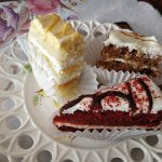 Mandarin Orange Cake, Carrot Cake, Red Velvet Cake desserts from high tea