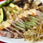 Customer favourite, AAA New York Steak and Shrimp Misonaise