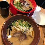 AKA (Spicy Miso - red bowl) & CHA (Miso - brown bowl)