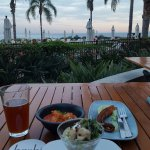 Kimchi, octopus, hamachi, and Hitachino Nest XH in view of the Pacific at Terraria's Bashi is a