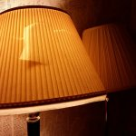 Ripped lamp shade.