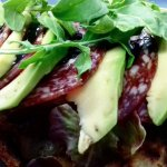 Avo & Salami  - served on fresh ciabatta and fresh greens topped with balsamic reduction and roc