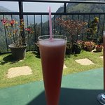 Watermelon juice with view